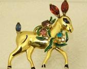 Rare Vintage Signed CORO CRAFT Sterling Enamel Prancing Reindeer Holiday Christmas Brooch Pin