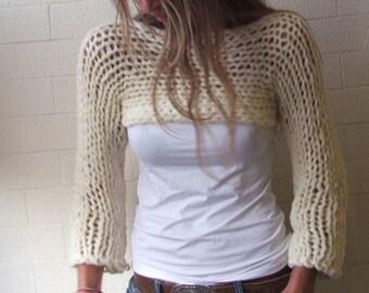 white sweater  cropped sweater  Ivory Isle Chunky bamboo mix shrug cropped  ivory white sweater / cropped shrug