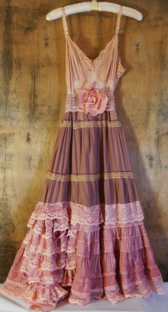 RESERVED for jacash04 Pink lace dress dusty mauve cream ruffles fairytale rose  vintage   romantic medium   by vintage opulence on Etsy