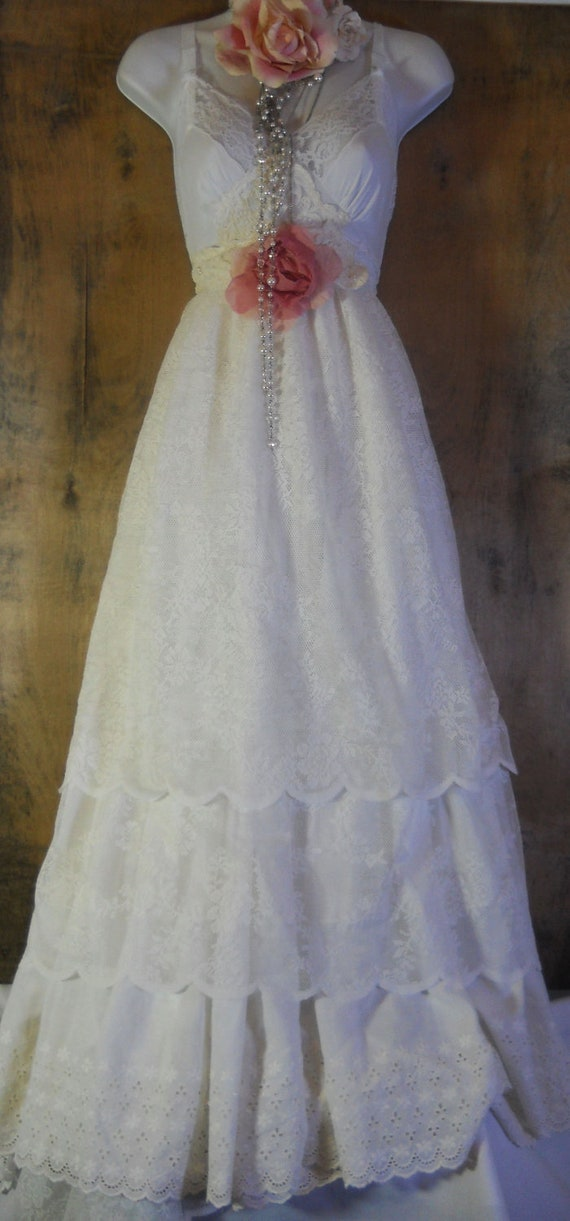 White lace dress wedding cotton  boho rose romantic medium by vintage opulence on Etsy