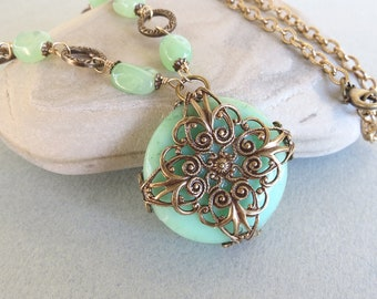 Chrysoprase and Brass Filigree Necklace