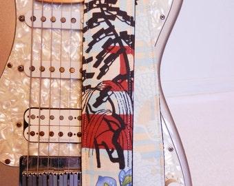 Asian inspired bright blue dragon guitar strap