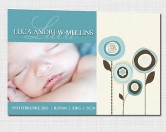 Modern photo birth announcement for baby boy AB010