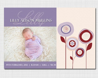 Modern photo birth announcement for baby girl AG010