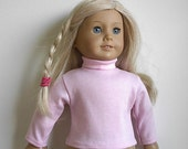 "Turtleneck made to fit the 18"" American Girl Doll - Long Sleeves - Light Pink or You Choose Color - READY TO SHIP"