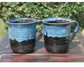 Blue waterfall mug set, Handmade mugs, made for you