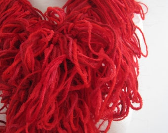 """red boa, red scarf, warm boa, warm red scarf, hand made scarf, loopy scarf """"ensanguine"""""""