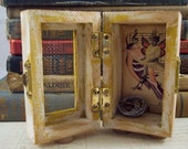 Fairy Box Collage 3D Assemblage Box - Fairy with Bird & Nest Box - Mixed Media Box - Fairy Collage Box - Altered Art Box - Fairy Shrine