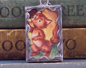 Red Fox Pendant - Woodland Glass Charm - Soldered Pendant with Vintage Book Illustration - Red Fox Charm - Book Jewelry