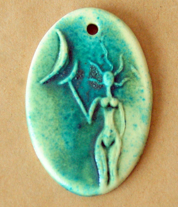 Spirit Goddess Bead - Stoneware Oval Goddess Bead - Venus holding the Moon