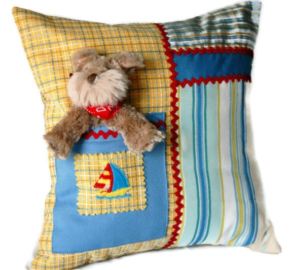 Sailboats and Terriers Toy Pocket Pillow for Boy or Girl