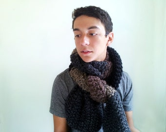 Men's Simple Brown and Gray Handknitted Scarf. Chunky, Soft, Masculine.