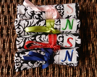 Set of 13 Bridesmaids Travel Jewelry Roll Holder - With Monogram and Free Shipping