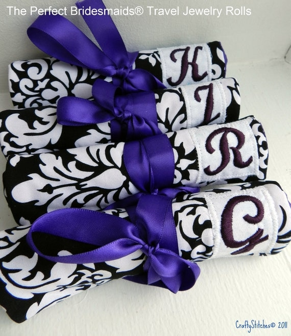 Fall Bridal Sale 25% Off Set of 6 - The Perfect Bridesmaids Travel Jewelery Rolls w/monogram Free Shipping in BW Damask