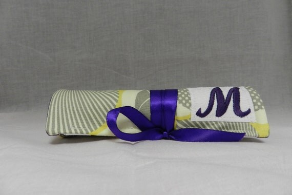 Set of 6 Personalized Monogram Necklace Tabs The Perfect Bridesmaids Gifts Jewelry Roll in Optic Floral Yellow Grey and Purple Ribbon