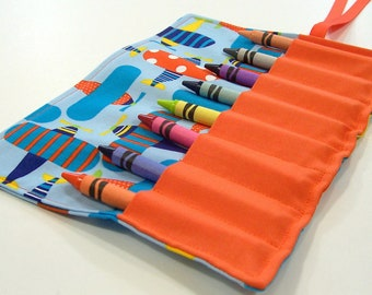 Crayon Roll Up - AIRPLANE FUN Crayon Roll - Party Favor - Stocking Stuffer - Kids