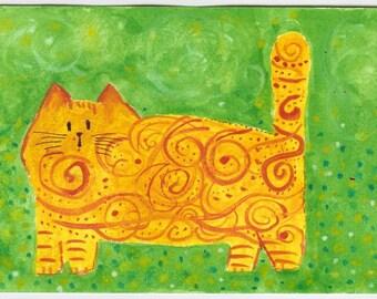 Orange Fat Cat in the Garden Watercolour