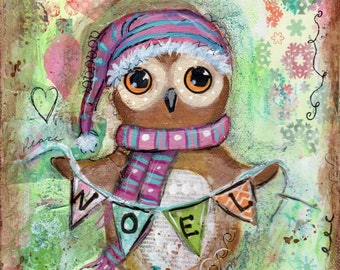 Owl Print,  Holiday Decor, Holiday Art, Whimsical owl, Children's art, Print