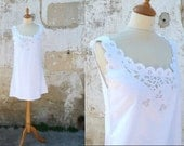 Edwardian cotton dress mini dress lingerie underdress open work handmade embroiderys size S