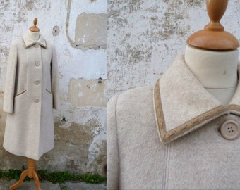 Vintage 1970s coat mohair camel flared leather finishings /size S