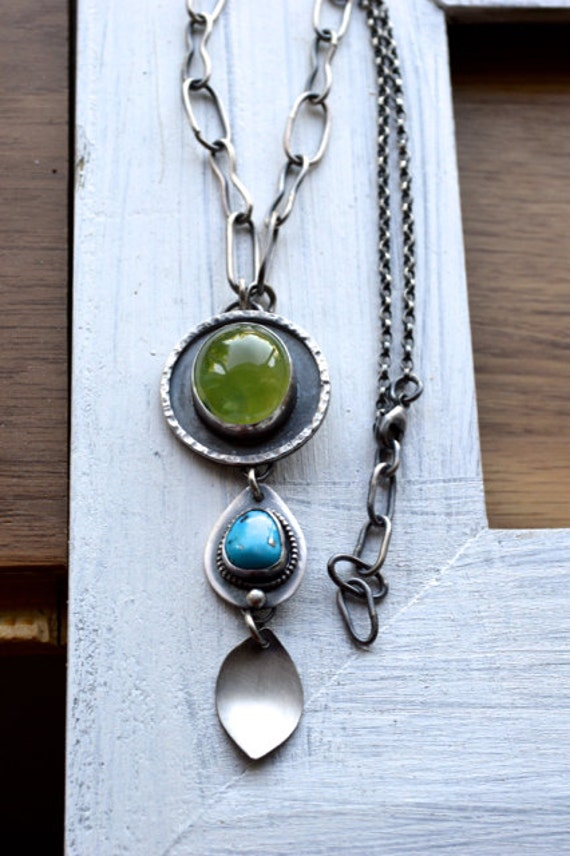 20% Fall SALE - Use COUPON Code FALL2012 - Canyon Trail  Succulent Prehnite Statement Necklace with Morenci Turquoise in Sterling Silver