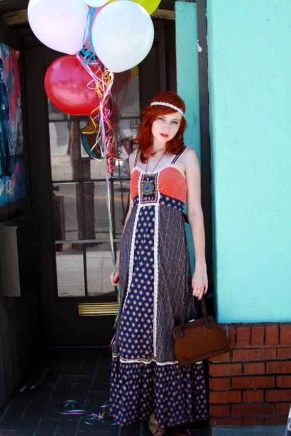 Vintage 1960's Gunne Sax maxi dress SMALL