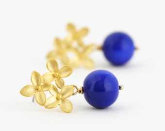 Blue Earrings - Gold Hydrangea Flower Post Earrings - Bridal Jewelry - Wedding Earrings - Gift For Woman - Gift For Her