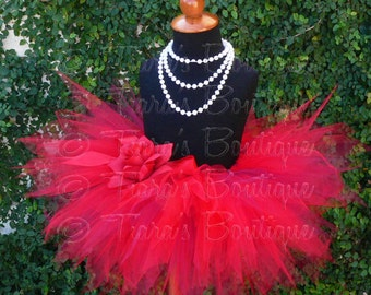 Girls Christmas Tutu - Birthday Tutu - Roses are Red - Red Burgundy Tutu - Sewn 11'' Pixie Tutu - up to 5T - Photo Prop Tutu