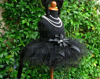 "Midnight - Black Cat Tutu Costume Set - Sewn 8"" pixie tutu, black kitty ears headband, removable tail - newborn up to 12 months"