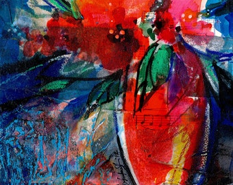 Floral Fantasy .. 6 ... Original Contemporary Modern mixed media flower art painting by Kathy Morton Stanion EBSQ