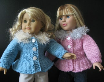 American Girl 18 inch doll beginner level Knitting pattern with VIDEO clips ICE-SKATER sweater jacket (39)