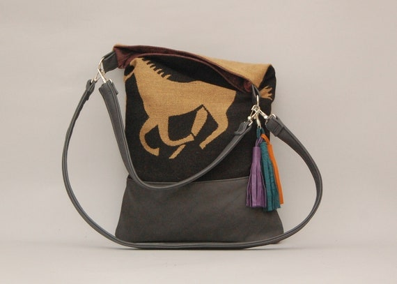 HORSE TOTE a /// black leather and horse print fabric