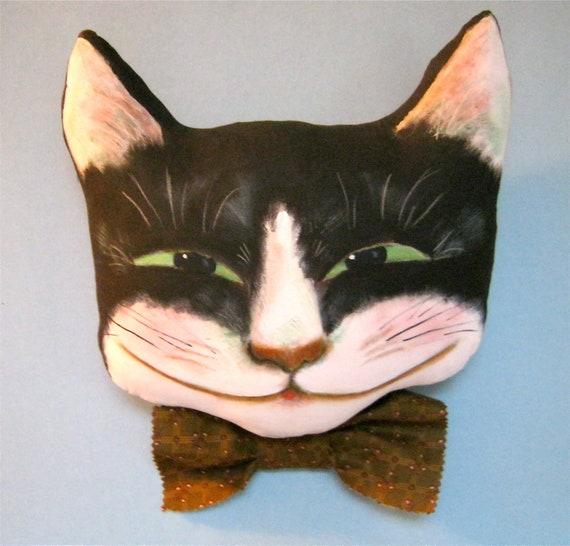 Cheshire cat art doll- really BIG head- green eyes- wall art- sofa art- Cheshire cat smile- tuxedo cat- black white