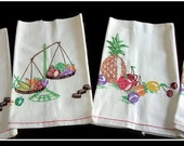 Hand Embroidered Linen Kitchen Towels x4 Fruits Vegetables 15 x 27 Mid Century Kitchen Priced Each