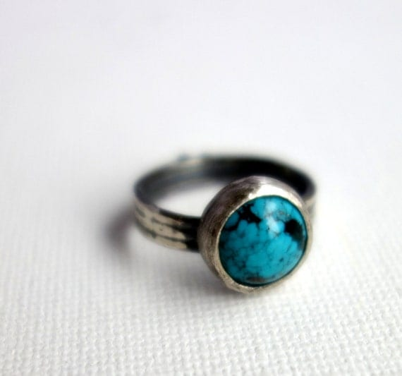 Sterling Silver Turquoise Ring with Hidden Heart