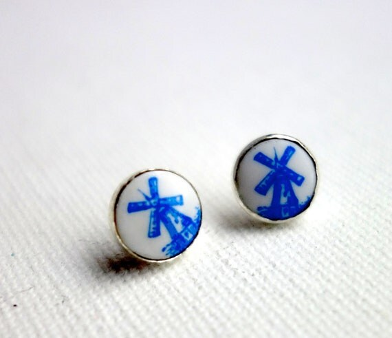 Handmade Sterling Silver Earrings with Vintage Glass Windmills