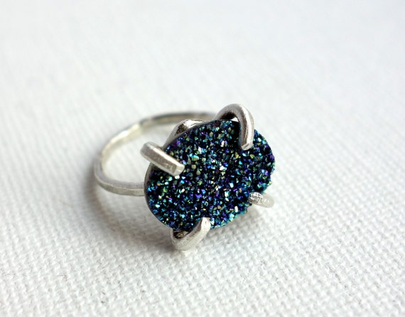 Aqua Druzy in Handmade Prong Ring