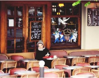 Petite Chablis - Paris Cafe Scene Art Print, Paris Landscape Photography by Leigh Viner