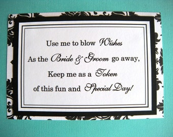 5x7 Flat Printed Wedding Bubble Favors Sign in Black and White Damask - Bubble Ceremony Photo Exit Sign - Ready to Ship