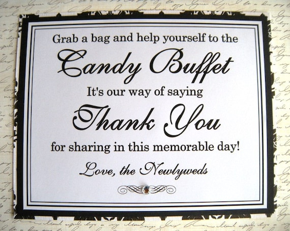 8x10 Flat Wedding Candy Buffet Sign in Black and White Damask with Rhinestone - READY TO SHIP