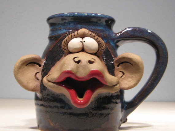 Kissie .. Kissie  ..  Gimme a Kissie ... Girly Monkey Kissie Mug   ....        LEFTY .....             e143