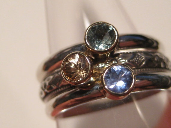 Sapphire Stacking RIngs.Set of 3 Stacking Rings.Blue Sapphire, Green Sapphire, Yellow Sapphire.Sterling Silver and 14 kt Gold.CooL