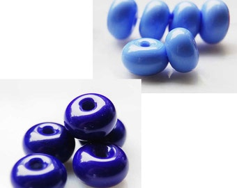 25 Cobalt Blue Spacer or Azure Blue round lampwork beads , glass bead spacers by Beadfairy Lampwork, SRA