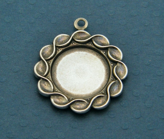pendant blank 4 silver ox oxidized twisted by