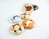 I Heart Mustaches and Arrow / Fridge Magnet Set  / Five 1 Inch button magnets 1162