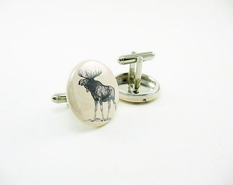 Nature Cufflinks - moose and caribou - 1 inch buttons