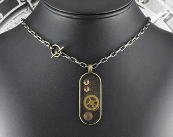 Steampunk Amber Brass Mechanical Necklace - Proceedings of Intelligent Tinkering by COGnitive Creations