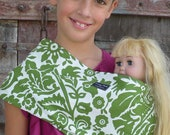 LARGE- Baby Doll Sling Carrier- American Girl Doll Carrier-Moss-Free Shipping When Purchased With A Wrap