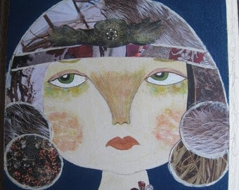 Her Own Tribe.  Original Mixed Media Art