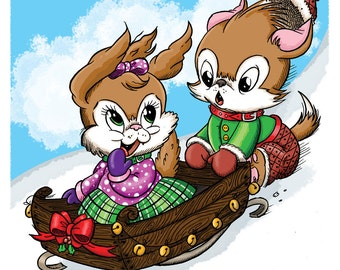 Allie and Percy on Sled (DIGI STAMP)